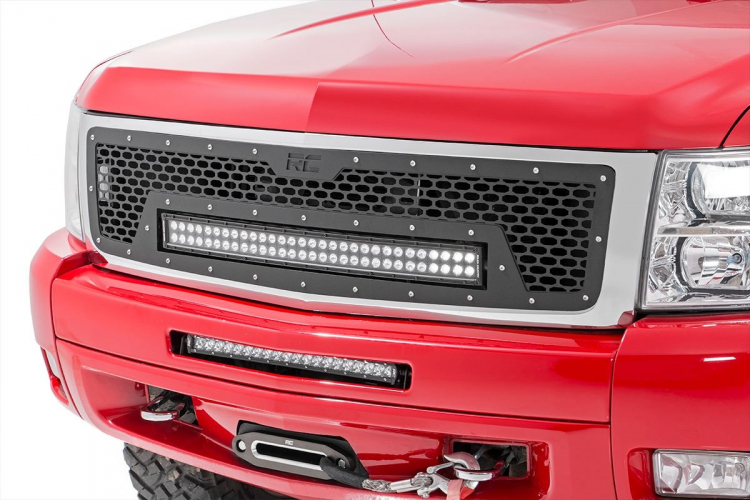 Rough Country CHEVROLET MESH GRILLE W/30IN DUAL ROW BLACK SERIES LED (07-13 SILVERADO 1500)