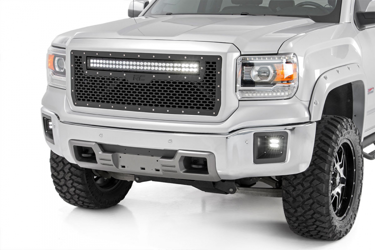 Rough Country GMC MESH GRILLE W/30IN DUAL ROW BLACK SERIES LED (14-15 SIERRA 1500)