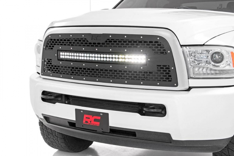 Rough Country DODGE MESH GRILLE W/30IN DUAL ROW BLACK SERIES LED (13-19 RAM 2500/3500)