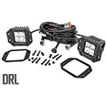 2-INCH SQUARE FLUSH MOUNT CREE LED LIGHTS - (PAIR | CHROME SERIES W/ COOL WHITE DRL)